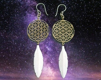 Flower of Life Feather Earrings - Hand Carved Bone - Feather Tribe