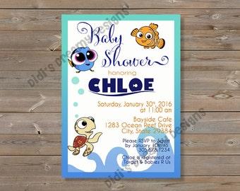 Elegant Finding Dory Nemo Baby Shower Birthday Invitation, Diaper Raffle Card, Book  Insert, Thank