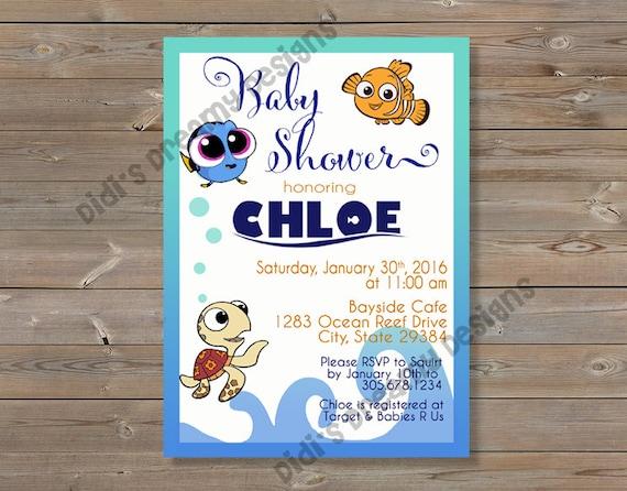 Finding Dory Nemo Baby Shower Birthday Invitation Diaper