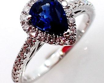 Blue Natural Sapphire & Diamond Ring, 0.97 ct Pear cut Ceylon Sapphire - GIA G. G Appraisal