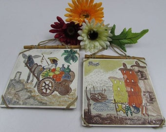 Vintage Ceramic Tile Art Hand Painted by Ruth Holzaepfel