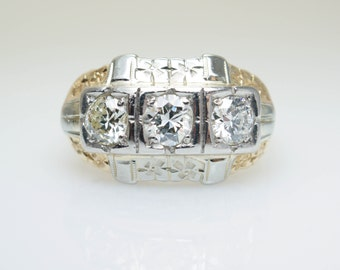 Art Deco Diamond Statement Ring Art Deco Cocktail Ring 14k White Gold Yellow Gold Statement Jewelry Large Cluster Diamond Engagement Ring