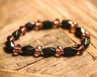 Black Beads with Purple Crystal 7mm Beaded Bracelet