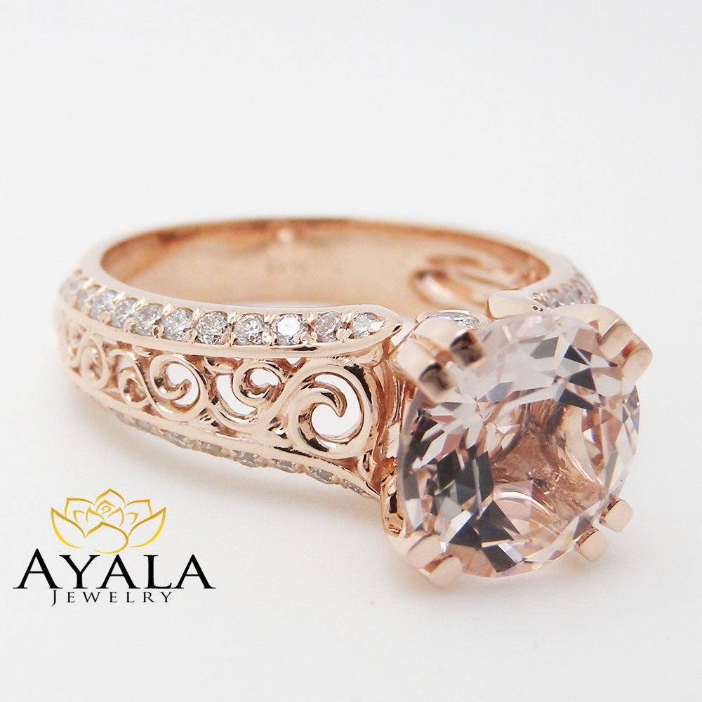 Unique Rose Gold Engagement Ring 14K Rose Gold Morganite