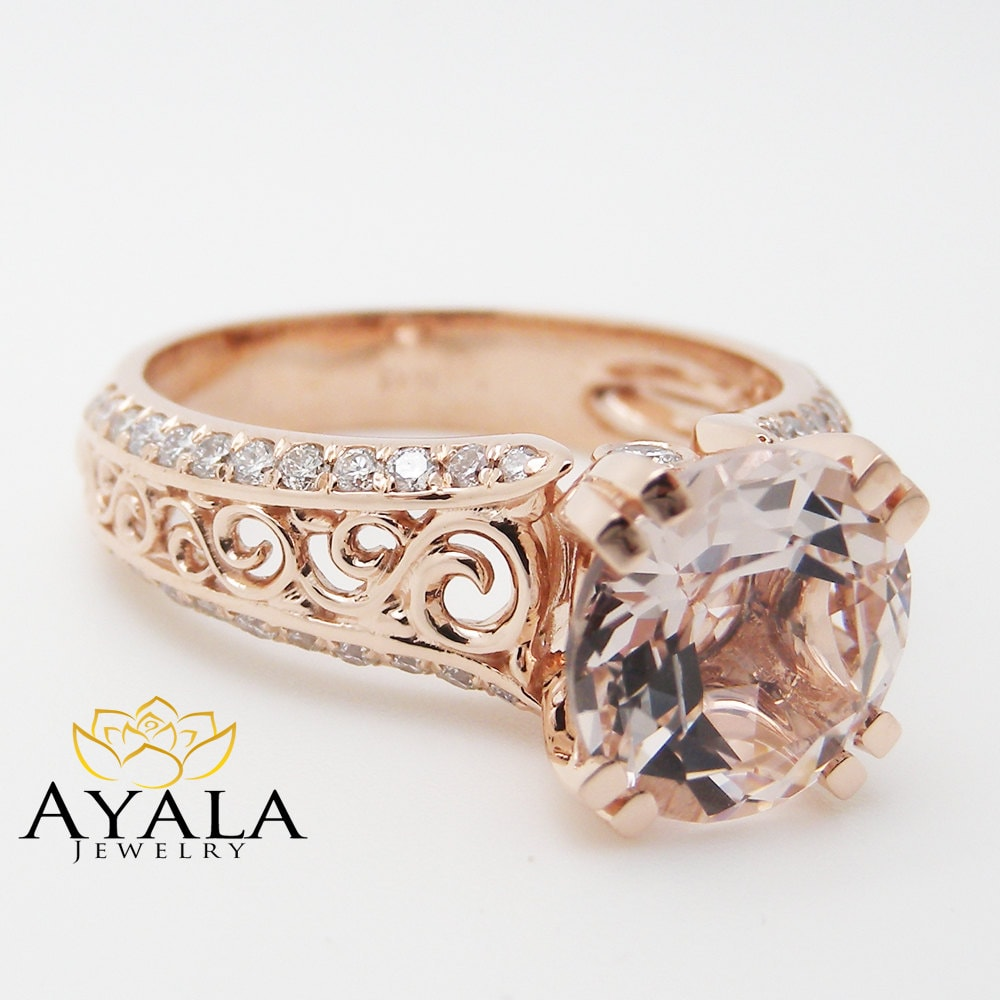 Unique rose gold engagement ring 14k rose gold morganite for Custome wedding rings