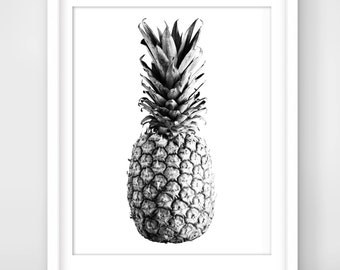 30% OFF SALE Black And White Pineapple print, Pineapple Printable Wall Art, Pineapple art print,  Inspirational quote poster, Pineapple Art