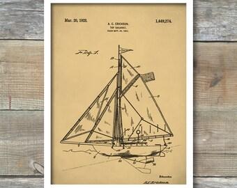 Sailboat Poster, Patent Print, Sailboat Patent, Sailboat Print, Sailboat Art, Sailboat Decor, Sailboat Wall Art, Sailboat Blueprint, P353