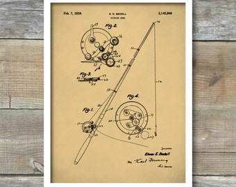 Patent Prints, Fishing Reel Poster, Fishing Reel Patent, Fishing Art, Fishing Reel Print, Fishing Reel Decor, Fishing Reel Blueprint P304