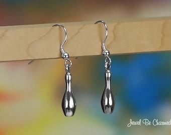 Sterling Silver Bowling Pin Earrings Pierced Fishhook Solid .925