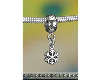 Tiny Sterling Silver Snowflake Charm or European Style Charm Bracelet