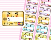 "4x5"" Kawaii Credit Card Bill Due Plan Planner Planning Cute Sticker Stickers for Erin Condren Daily Personal Happy Kikki K Amelie #0755"