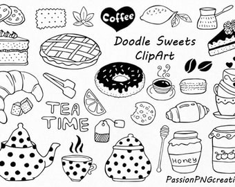 Doodle Sweets clipart,Tea time clip art, Dessert Doodles, PNG, EPS, AI, Vector, line art, Hand Drawn Candy, For Personal and Commercial use
