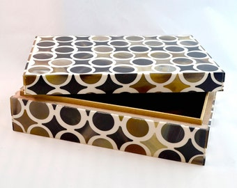 Handcrafted storage box in bone, horn, and resin over wood