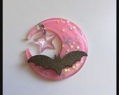 Moon and Bat with Star Charm Hair Clip (options available)(pink and black)
