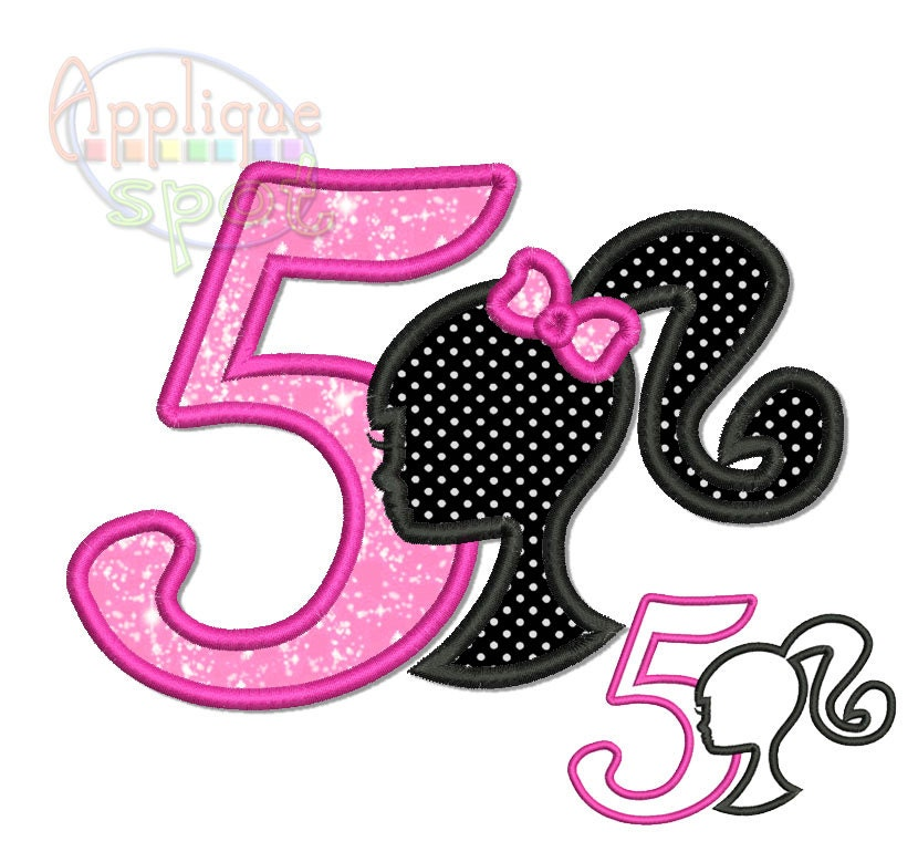 Barbie Zebra Theme 1st And 5th Birthday: Barbie Fifth 5th Birthday Applique Design Embroidery
