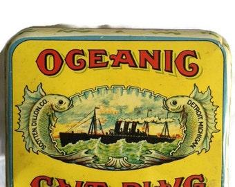 Vintage Tin Box with Lid-Oceanic Cut Plug-Union Made-Scotten Dillon Co-Detroit, Michigan-Cheinco-Housewares-Burlington, NJ-Yellow Box