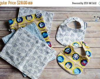 ON SALE Burp Cloth & Bib Set