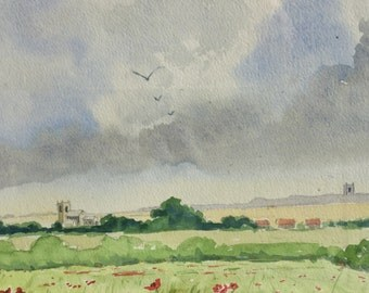 Vintage landscape watercolor painting of the bucolic English countryside.   It's exquisite and appealing!