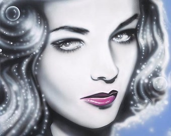 LAUREN BACALL celebrity portrait painting by Artist Alicia Hayes