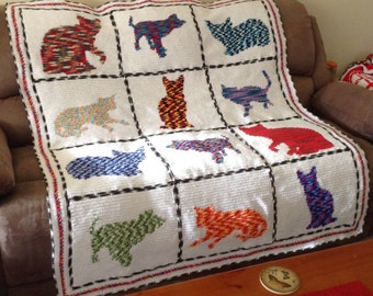 Handmade Crochet Variegated Cats Blanket