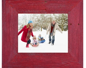 Handmade reclaimed wood frame- red