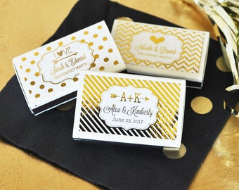 Personalized Match Boxes-Custom Wedding Favors-Match Box Favors-Unique Wedding Favors (set of 50)