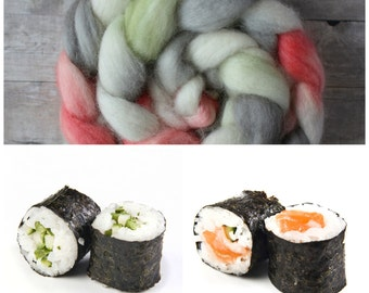Hand Dyed Wool Roving - Sushi Roll