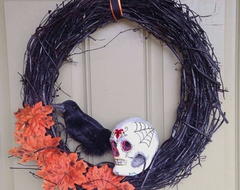 Sugar Skull Grapevine  Wreath