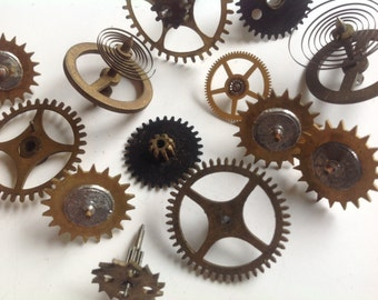 Vintage supply clock watch gears parts lot