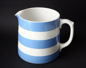T.G Green & Co Cornish Kitchenware, Large, Blue and White Striped Milk Jug