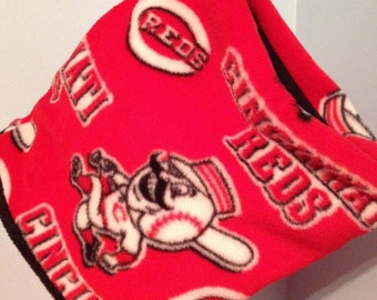 Cincinatti Reds (2 in 1) neck warmer gaiter face mask - reversible with black fleece - men women kids