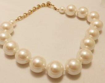 Designer Signed Carolee Large White Faux Pearl Necklace