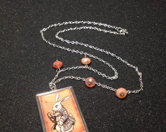 White Rabbit Pendant Necklace w/ Pink Beads