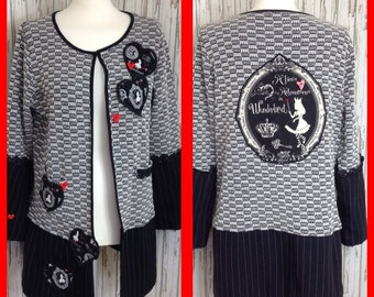 Alice In Wonderland ladies unique reconstructed cardigan jacket combi / recycled / black and white / appliqued / designer / one only
