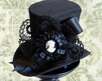 Victorian Mini Top Hat,Black Gothic Mini Top Hat with Cameo,Steampunk Tea-party Mini Top Hat-Custom-Made to Order