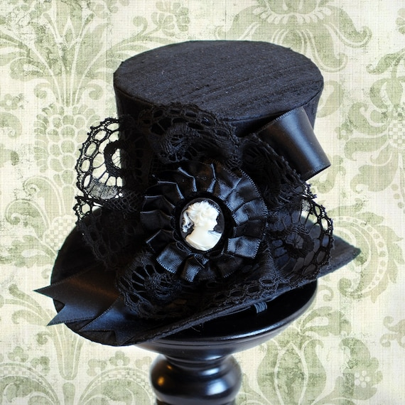 b84c5f71 Victorian Mini Top Hat,Black Gothic Mini Top Hat with Cameo,Steampunk  Tea-party Mini Top Hat-Custom-Made to Order by BizarreNoir