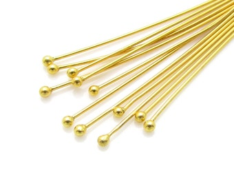 10 Pcs, 24ga, 40mm, 1.5mm, 24k Gold Vermeil Headpins