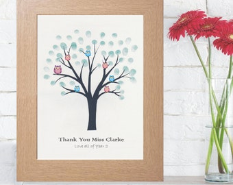 A4 Unframed Personalised Teachers Fingerprint Tree - End of Year Teachers Keepsake Gift Personalised  Text - Choice of Inkpad Colours
