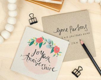Joyeux Anniversaire Floral Happy Birthday Card