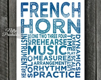 French Horn Art - INSTANT DOWNLOAD French Horn Print - French Horn Player - French Horn Poster - French Horn Gifts - Music Gifts Decor