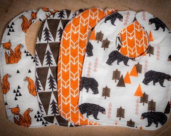 Bibs Camp Bear. Orange Brown Baby Bibs. Adventure Bibs. Woodland bibs - Set of 4 READY TO SHIP