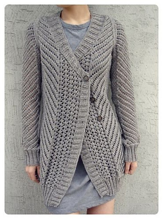 Hand Knitting Patterns For Ladies Cardigans : Hand Knit womens cardigan womens jacket women hand