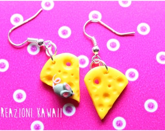 Cheese & Mouse Kawaii Pendant Earrings Fimo - Polymer Clay Jewelry