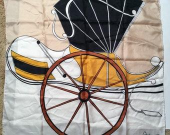 Vintage 1970s Cara Tesoro Carriage Silk Scarf, Hand Rolled Hand Hemmed