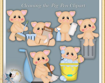Household Clipart, Cleaning the Pig Pen