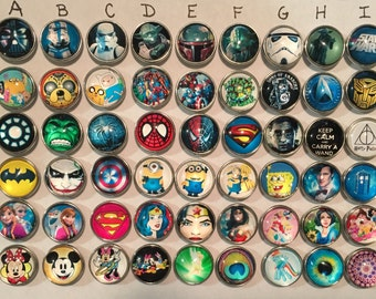 Snap Charms for Snap Jewelry, 18mm Glass handmade Snap Charms to use with your interchangeable jewelry