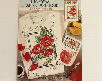 RED POPPIES No Sew Fabric APPLIQUE, Daisy Kingdom No Sew Fabric Applique, Sweatshirt applique, daisy kingdom design, red flower design