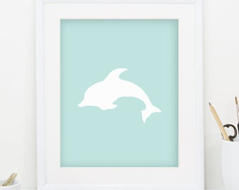 Dolphin Print White Dolphin Wall Art Minimalist Print Dolphin Art Nautical Nursery Print Nautical Print Teal Print Downloadable Art 0086