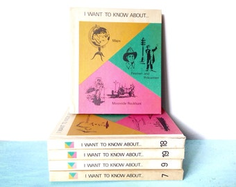 5 Vintage I Want To Know About... Children's Educational Reading and Learning Books 7, 9, 18, 19, 20