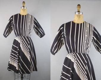 1980s Black and White Striped Dress / 80s Dress